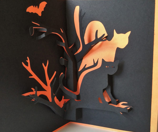 Halloween Pop Up Cards Templates.Make Your Own Spooky Halloween Cat Printable Pop Up Card