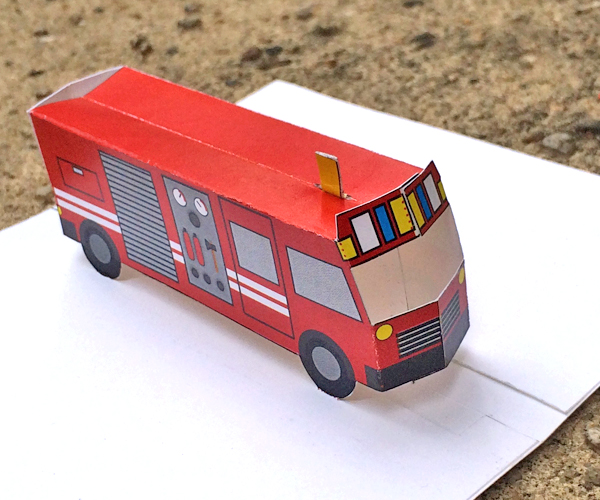 Printable Fire Truck Paper Toy Or Pop-up Card