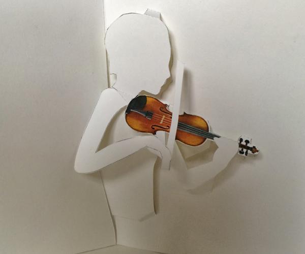 Printable Violin Pop Up Card Shows Violinist Bowing