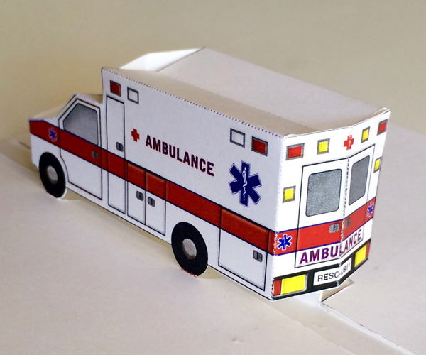 Pop Up Ambulance Printable 3d Paper Toy Or Get Well Card