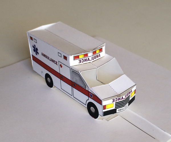 Pop-up ambulance: printable 3D paper toy or get well card