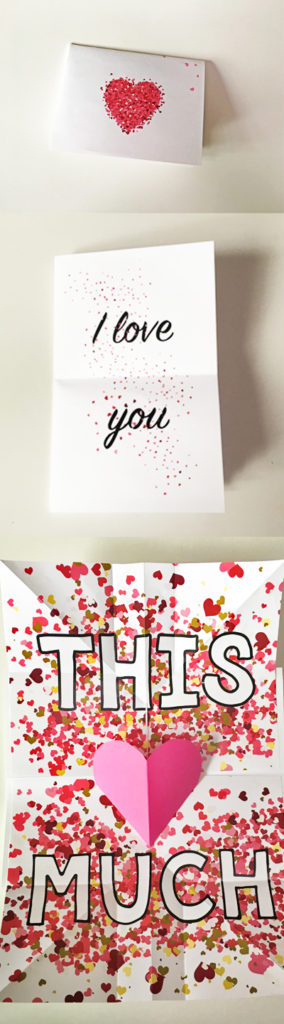 Huge valentine expanding pop-up card