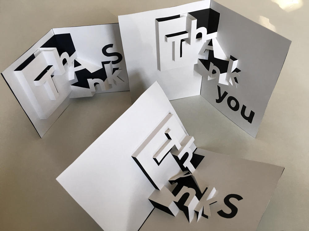 Thanks or thank you pop-up card